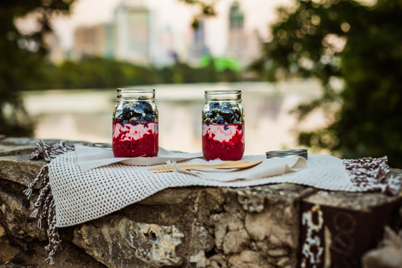 Chia Raspberry Yogurt Jar With A View