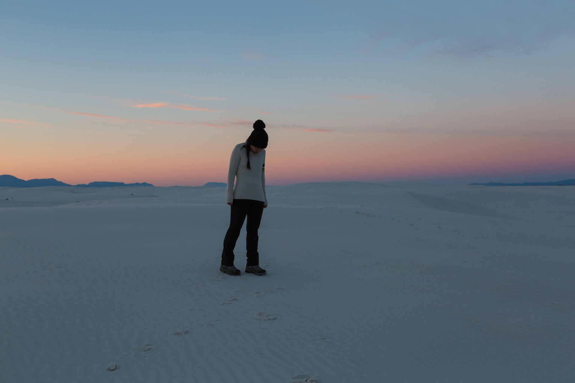 In A Sunset At White Sands (down far)